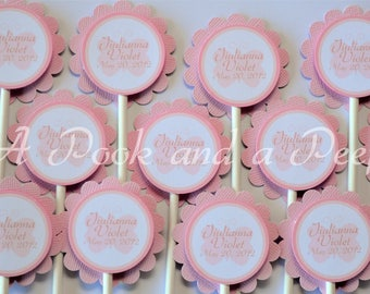 Pink Butterfly Baptism Christening Personalized Customizable Cupcake Toppers Picks Set of 12