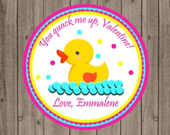 Duck Valentine's Day Tag, You Quack Me Up Valentine, Rubber Duck Valentine Tag