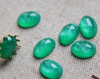 12pcs of resin sparkle dome 10x14mm RC1020-6-emerald green