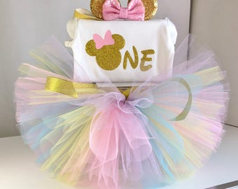 Pink and Gold Minnie Mouse Outfit, First Birthday Minnie Mouse, Minnie Mouse birthday tutu outfit, Minnie Mouse tutu set, 1st birthday