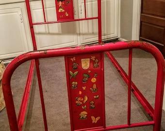 Vintage Twin Metal Bed/Red Twin Bed/Vintage Iron Bed/Vintage Distressed Metal bed/Chippy Painted Metal Bed