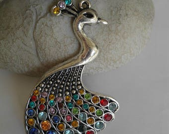 large colorful rhinestone Peacock pendant