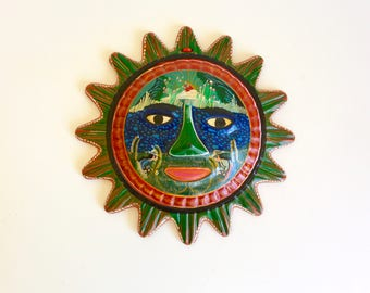 Colorful Hand Painted Terra Cotta Sun Wall Hanging