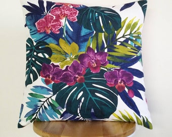 Orchid, Monstera and Palm leaf print cushion cover