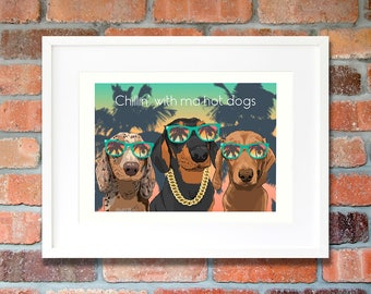 Dachshund gifts caricature funny wall art print Gangster dog cool room decor Miniature dachshund dogs boyfriend gifts illustration drawing