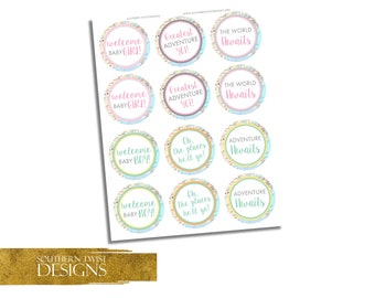 Girl and Boy Baby Shower Cupcake Toppers - Cupcake Toppers Travel Baby Shower - Printable Cupcake Toppers - Adventure Awaits Cupcake Toppers