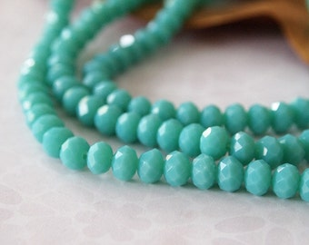 Strand Faceted Opaque Glass Beads Rondelle Abacus Shape Turquoise Green Size 6x4mm Qty 85 beads