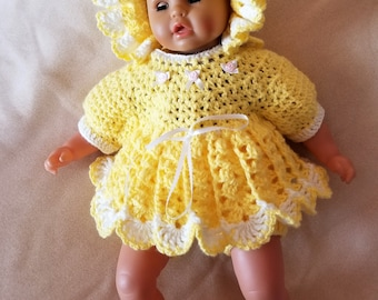 Handmade Baby Girl Crochet Dress, Hat, Booties and Diaper cover Set