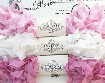 Scrunched Crinkled Seam Binding Ribbon, Pale Pink,White Rayon Ribbon, French Vintage,Scrapbooking, Sewing, Doll Bear Making, Filigree Lace