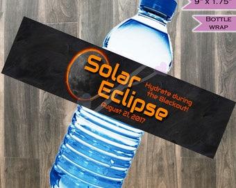 Solar Eclipse Water Bottle Labels Wrap- Eclipse Printable Party Supplies - Total Solar Eclipse 2017 Sun Moon Eclipse Party- INSTANT DOWNLOAD