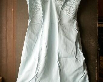 Vintage Seafoam Blue Rogers Full Slip - 50's Dress Slip with Lace Bodice and Hem - Tricot Nylon Size 34