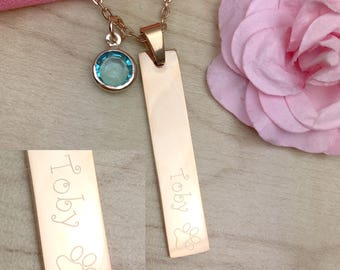 Pet necklace, Pet memorial necklace, puppy necklace, rose gold, gold bar name necklace, gift for her, custom necklace, christmas gift