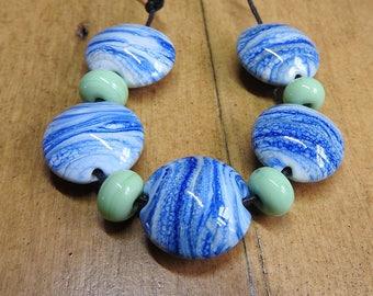 Earth - lampwork lentil bead set