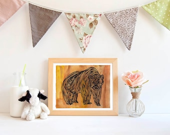 Brown Bear Printable, Grizzly Watercolor Art Print, Woodland Illustration, Nursery Poster, Artwork, Clipart, Instant Download, 8x10