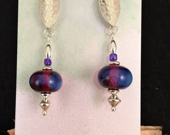 Earrings, glass beads, lampwork, Sterling silver, silver, purple, blue, seed bead, original, handmade, gift, Sassy Shack Designs