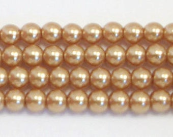 4mm Gold glass pearls - 15.5 inch strand
