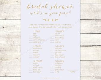 bridal shower game what's in your purse printable lavender purple gold glitter wedding shower digital games - INSTANT DOWNLOAD