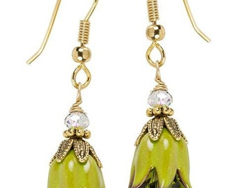 Green Bellflower Earrings