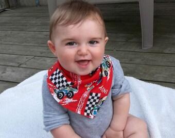 Baby Bandana Bib Little Bandit Bib Red Race Car Cotton Dribble Teething Bib  Color #1