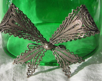 "Unique Vintage Cannetille Filigree Wrapped Bow Brooch, Large, 2.25"", Unmarked Pewter ?"