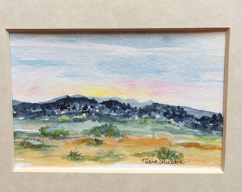 "An Original Landscape Watercolor, ""Mountains at Early Sunrise"""