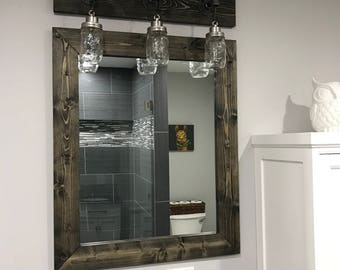 EBONY Farmhouse Mirror, Framed Mirror, Rustic Wood Mirror, Bathroom Mirror, Wall Mirror, Vanity Mirror, Small Large Mirror, Black Decor