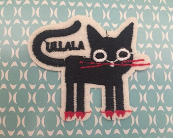 Cat Embroidered Iron On Patch, black cat sewing patch, Cat patch