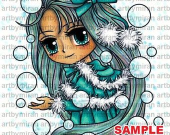 Digital Stamp - Selena Snow (#334), Digi Stamp, Coloring page, Printable Line art for Card and Craft Supply