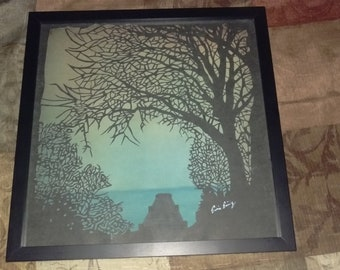 Mixed Media Paper Cutting/Water Color Art