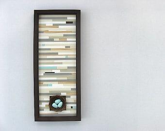 Wood Wall Art - Birds Nest - Home Decor - Wall Hanging -  Modern Rustic Wood Wall Art Sculpture
