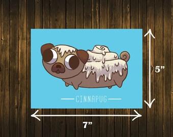 CinnaPug Print Cinnamon Roll Pug