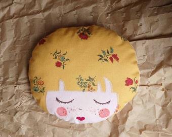 Face fabric yellow ochre - doudou doll handmade - small cushion face