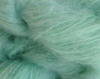 Mohair Yarn in Glass Green Fingering Weight