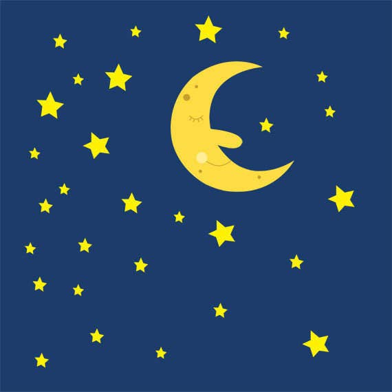 sleeping moon and stars in the night sky clip art collection rh etsy com winter night sky clipart winter night sky clipart