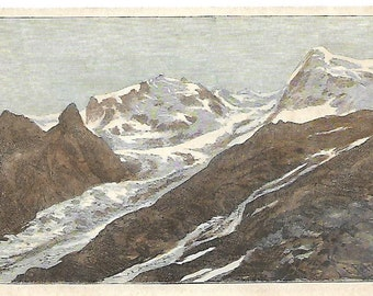 Monte Rosa, antique print, 1895