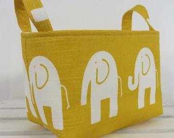 Storage and Organization Fabric Organizer Bin Container Basket - Ele Elephant - White on Yellow - Nursery Decor - Baby Room