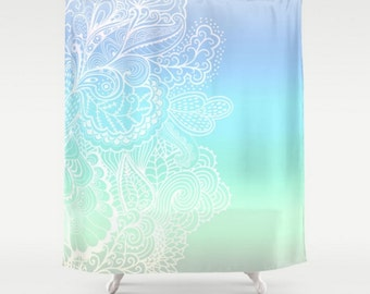 Shower Curtain Pastel Purple Blue Green Paisley Whimsical India Mehndi Henna Design Pattern Home Bath Room Decor