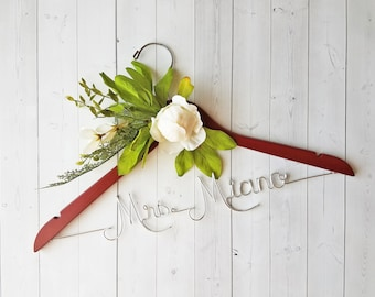 Wedding Hanger White Peony Flowers First and Last Name Personalized Hanger Custom Hanger Bridal Hanger Bride Bridal Shower Gift Bridesmaid