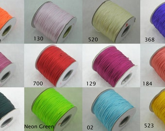 42 Colors--80 yards 1.0mm Satin Silk Bugtail/rattail Macrame Beading Cord Nylon Kumihimo String Chinese Knot Nylon Braided Beading Cord