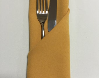 Mustard Yellow (Gold) Napkins (Sold Individually) - Made from polyester fabric not cotton.