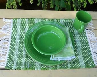 Handwoven Shamrock  Rag Placemat & Handmade Matching Napkin, Set of 1