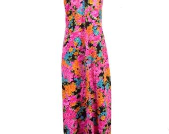 vtg 60s Colorful floral Tropical Hawaiian Barkcloth Halter Maxi Dress Gown sz S