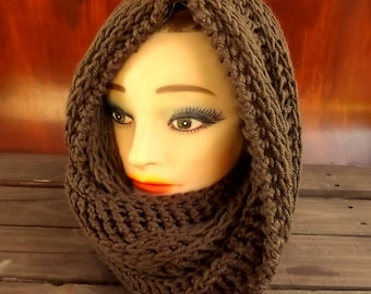 Joan Brown Crochet Hooded Cowl Scarf,  Hooded Scarf,  Crochet Scarf,  Crochet Infinity Scarf,  Brown Scarf