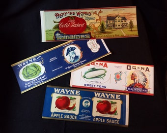 Set of 4 Vintage Advertising Canning Labels 1890-1920s (unused new old stock)