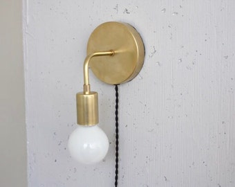 Plug in wall sconce • Roy • Brass Sconce • Bedside light • Mid century modern • bare bulb • dimmable lamp