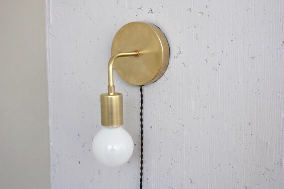 Plug in wall sconce roy brass sconce bedside light mid plug in wall sconce roy brass sconce bedside light mid century modern bare bulb dimmable lamp mozeypictures Image collections