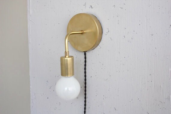 Plug in wall sconce Roy Brass Sconce Bedside light Mid
