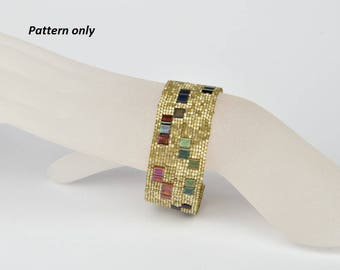 Beaded bracelet pattern - delica-tila bracelet - in peyote techic tutorial
