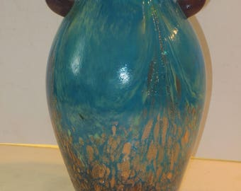 Dale Tiffany Double Handle Fvrile Art Glass Vase With Copper Aventurine