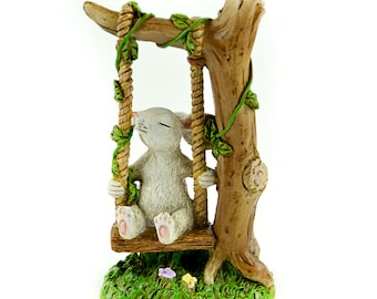 "Miniature Rabbit on Swing - 5"" x 2.5"" 1.5"""